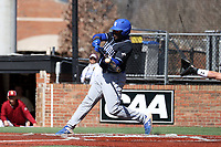 ELON, NC - MARCH 1: Ellison Hannah II #24 of Indiana State University hits the ball during a game between Indiana State and Elon at Walter C. Latham Park on March 1, 2020 in Elon, North Carolina.