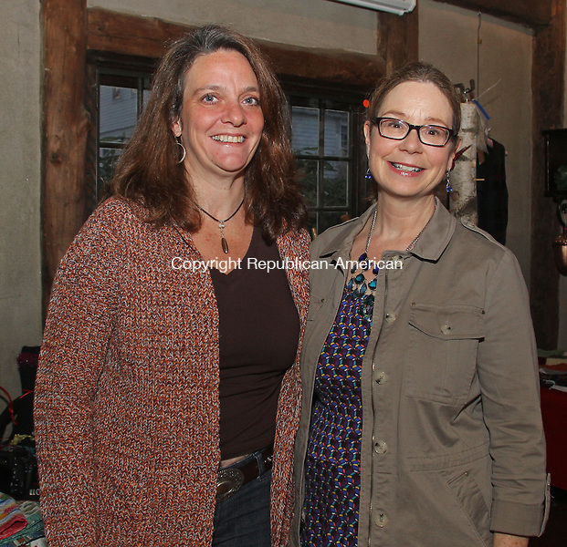 Woodbury, CT111613MK20 (from left) Artisan Patricia Egan and Nancy Robinson gathered for the opening of the Flanders Artisan Marketplace at the Van Vleck art studio at 5 Church Hill Road in Woodbury. Items were featured that will be available for purchase during the holiday weekends when the market is open 11AM - 4 PM.