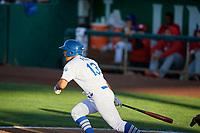 Luis Paz (13) of the Ogden Raptors bats against the Orem Owlz in Pioneer League action at Lindquist Field on June 27, 2017 in Ogden, Utah. Ogden defeated Orem 14-5. (Stephen Smith/Four Seam Images)