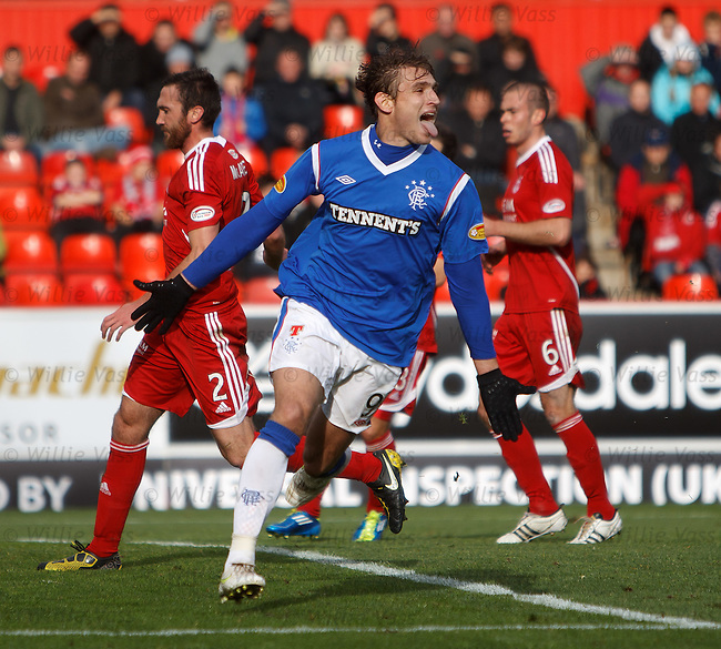 Nikica Jelavic celebrates after scoring from the penalty spot as Rangers head down the A90 with all three points