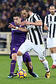 9th February 2018, Stadio Artemio Franchi, Florence, Italy; Serie A football, ACF Fiorentina versus Juventus; (L-R) Giovanni Simeone of Fiorentina held off by Gonzalo Higuain of Juventus