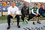 16 May 2015: New York head coach Giovanni Savarese (VEN) (left) with assistant coaches Carlos Llamosa (COL) and Alecko Eskandarian (right). The Carolina RailHawks hosted the New York Cosmos at WakeMed Stadium in Cary, North Carolina in a North American Soccer League 2015 Spring Season match. The game ended in a 2-2 tie.