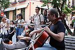 Cellist during the Festival de Musica Balconica-Musica Balconica Festival in Malasana street. June 29,2012. (ALTERPHOTOS/Alconada)
