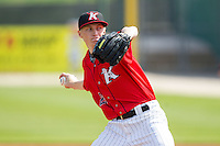 Kannapolis Intimidators starting pitcher James Dykstra (28) in action against the Hickory Crawdads at CMC-Northeast Stadium on April 9, 2014 in Kannapolis, North Carolina.  The Intimidators defeated the Crawdads 1-0.  (Brian Westerholt/Four Seam Images)