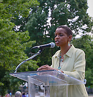 Washington, DC (May 15, 2011)  Congresswoman Donna Edwards (D-MD) speaks at the second annual Hope For Darfur - Justice in Sudan Rally and March to help the spotlight remain on the violence in Darfur and Sudan.  The march began at the Metropolitan AME church followed by a rally in front of the White House.  The Darfur Interfaith Network (DIN) and GI-NET/Save Darfur want to raise awareness of what they consider unjust policies of the Government of Sudan, and the unsafe living conditions of Darfuris and for those who continue to suffer in southern Sudan. (Photo Credit: Don Baxter/Media Images International)