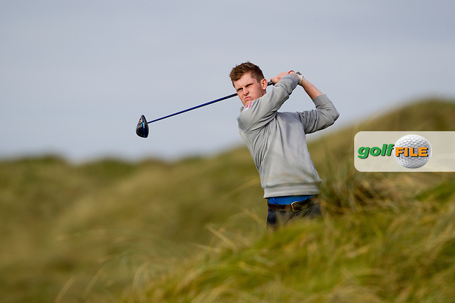 Ross Dutton (UU) on the 2nd tee during round 2 of the Irish Intervarsity Championship, Lahinch Golf Club, Clare, Ireland.  20/10/2016<br /> Picture: Golffile | Fran Caffrey<br /> <br /> <br /> All photo usage must carry mandatory copyright credit (&copy; Golffile | Fran Caffrey)