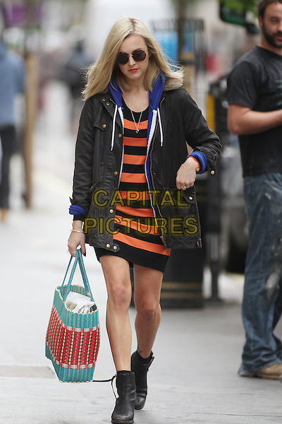 Fearne Cotton in central London, England..July 2nd, 2012.full length sunglasses shades black jacket red striped stripes top shorts boots hand in pocket bag purse blue .CAP/HIL.©John Hillcoat/Capital Pictures .
