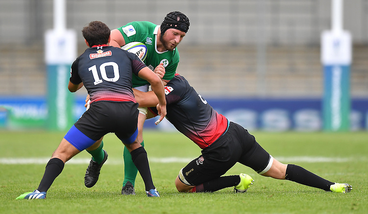 Ireland's Evan Mintern is tackled by Georgia's Beka Gorgadze and David Modzgvrishvili<br /> <br /> Photographer Dave Howarth/CameraSport<br /> <br /> International Rugby Union - U20 World Rugby Championships 2016 - Pool B - Match 17 - Pool A Ireland U20 v Georgia U20 - Wednesday 15th June 2016 - Manchester City Academy Stadium - Manchester<br /> <br /> World Copyright &copy; 2016 CameraSport. All rights reserved. 43 Linden Ave. Countesthorpe. Leicester. England. LE8 5PG - Tel: +44 (0) 116 277 4147 - admin@camerasport.com - www.camerasport.com<br /> <br /> Photographer Stephen White/CameraSport<br /> <br /> International Rugby Union - U20 World Rugby Championships 2016 - Pool C France U20 v Argentina U20 - Match 1 - Tuesday 07th June 2016 - AJ Bell Stadium - Salford - England<br /> <br /> World Copyright &copy; 2016 CameraSport. All rights reserved. 43 Linden Ave. Countesthorpe. Leicester. England. LE8 5PG - Tel: +44 (0) 116 277 4147 - admin@camerasport.com - www.camerasport.com
