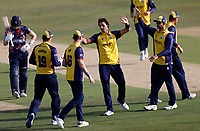Jack Plom (C) of Essex celebrates taking the wicket of Sam Billings during Kent Spitfires vs Essex Eagles, Vitality Blast T20 Cricket at The Spitfire Ground on 18th September 2020