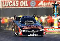 Feb. 14, 2013; Pomona, CA, USA; NHRA funny car driver Tony Pedregon during qualifying for the Winternationals at Auto Club Raceway at Pomona.. Mandatory Credit: Mark J. Rebilas-