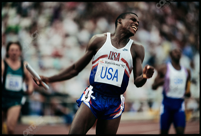 4x100m relay finals, men, Carl Lewis (USA) gold, Summer Olympics, Barcelona, Spain August, 1992