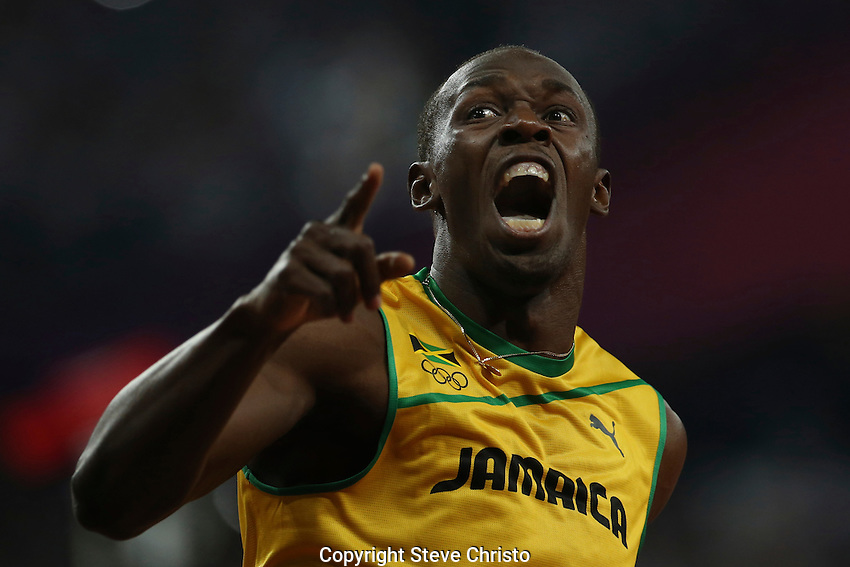Usain Bolt shows raw emotion after winning the Men's 200m final at the 2012 London Olympic Games on Friday, August 10th 2012, London, England.  (Photo: Steve Christo)