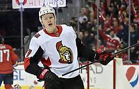 WASHINGTON, DC - FEBRUARY 26: Ottawa Senators left wing Brady Tkachuk (7) skates away after a goal during the Ottawa Senators vs. Washington Capitals NHL game February 26, 2019 at Capital One Arena in Washington, D.C.. (Photo by Randy Litzinger/Icon Sportswire)