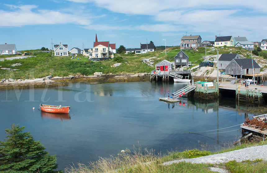 Canada Peggy's Cove Nova Scotia peaceful and quiet famous harbour with boats and homes in summer