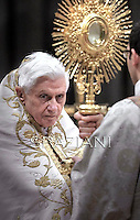 Pope Benedict XVI leads the celebration of Vespers on the feast of the Presentation of the Lord on January 2, 2012 at St Peter's basilica at the Vatican.