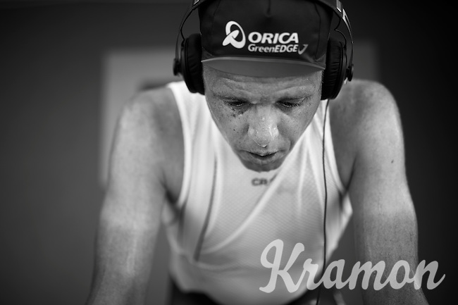 Brett Lancaster (AUS/Orica-GreenEDGE) during morning warm-up at the hotel