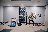 Jolanda Neff (SUI/Trek-Segafredo) doing some early morning squat exercises <br /> <br /> Team Trek-Segafredo women's team<br /> training camp<br /> Mallorca, january 2019<br /> <br /> ©kramon