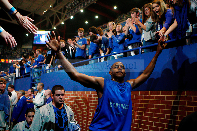 Senior Darius Miller high fives fans after Big Blue Madness at Rupp Arena on Friday, Oct. 15, 2010. Photo by Britney McIntosh | Staff