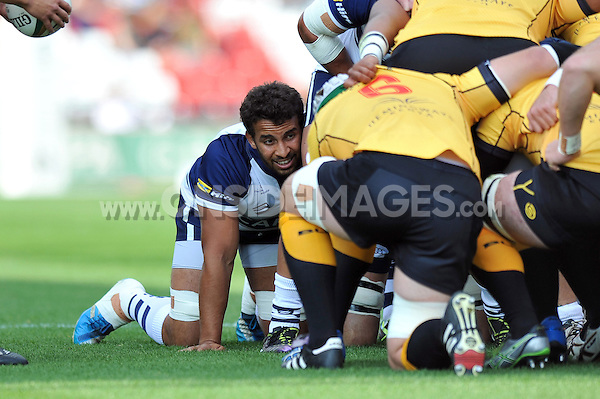 Marco Mama looks on at a scrum. Greene King IPA Championship match, between Bristol Rugby and Cornish Pirates on September 21, 2014 at Ashton Gate in Bristol, England. Photo by: Patrick Khachfe / JMP