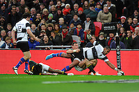 Taqele Naiyaravoro (Waratahs, Panasonic & Australia) of Barbarians stretches to score a try during the Killik Cup match between Barbarians and South Africa at Wembley Stadium on Saturday 5th November 2016 (Photo by Rob Munro)