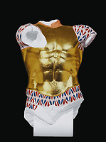 BNPS.co.uk (01202 558833)<br /> Pic: FineArtsMuseumSanFrancisco/BNPS<br /> <br /> How in might have looked - Stunning 'Cuirassed Torso' from the Acropolis in Athens, 470BC covered in egg tempura paint and gold leaf.<br /> <br /> The traditional view of the classical world full of austere white marble statue's and buildings has been transformed by a new book - that reveals the ancient world was in fact full of vibrant colours.<br /> <br /> Painstaking new research has discovered that most of the worlds most iconic art works from ancient Greece and Rome were in fact plastered with vibrant colours.<br /> <br /> However over the centuries the bright colours faded due to exposure to the elements and Renaissance maestros like Leonardo da Vinci and Michelangelo working in the 15th century believed it was the norm for sculptures to be white.<br /> <br /> Now, scientists are able to use ultra-violet photography to examine ancient pigment's and recreate how sculptures dating back to the Classical age would have looked.