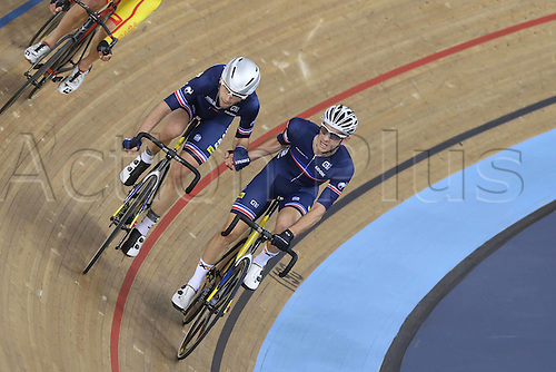 06.03.2016. Lee Valley Velo Centre, London England. UCI Track Cycling World Championships Mens Madison.  Team France KNEISKY Morgan and<br /> THOMAS Benjamin silver medalists