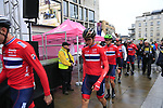 Team Norway arrive at sign on before the Men Elite Road Race of the UCI World Championships 2019 running 280km from Leeds to Harrogate, England. 29th September 2019.<br /> Picture: Eoin Clarke | Cyclefile<br /> <br /> All photos usage must carry mandatory copyright credit (© Cyclefile | Eoin Clarke)