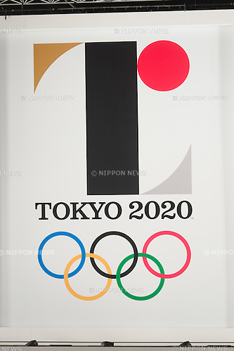 General view, JULY 24, 2015 : The official emblem for the 2020 Tokyo Olympics games is displayed at Tokyo Metropolitan Government Building in Tokyo July 24, 2015. The Tokyo Organising Committee of the Olympic and Paralympic Games unveiled the emblems on Friday, to mark the exactly five years before the 2020 Summer Games open in Tokyo. (Photo by AFLO)