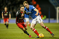 Blackburn Rovers' Jack Payne competing with Portsmouth's Matthew Clarke <br /> <br /> Photographer Andrew Kearns/CameraSport<br /> <br /> The EFL Sky Bet League One - Portsmouth v Blackburn Rovers - Tuesday 13th February 2018 - Fratton Park - Portsmouth<br /> <br /> World Copyright &copy; 2018 CameraSport. All rights reserved. 43 Linden Ave. Countesthorpe. Leicester. England. LE8 5PG - Tel: +44 (0) 116 277 4147 - admin@camerasport.com - www.camerasport.com