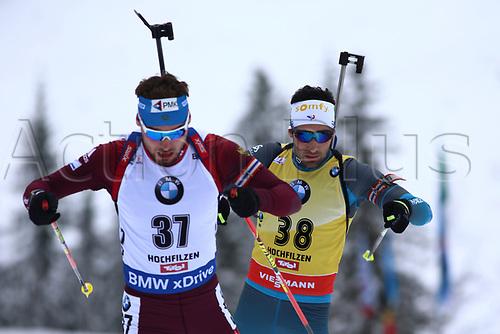8th December 2017, Biathlon Centre, Hochfilzen, Austria; IBU Biathlon World Cup; Anton Shipulin, Martin Fourcade