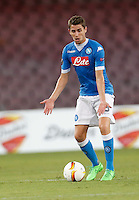 Napoli's Jorginho gestures  during the Europa  League Group D soccer match against Brugge  at the San Paolo  Stadium in Naples September 17, 2015