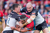 Picture by Allan McKenzie/SWpix.com - 09/09/2017 - Rugby League - Betfred Super League - Hull KR v Widnes Vikings - KC Lightstream Stadium, Hull, England - Hull KR's Lee Jowitt is tackled by Widnes's Matt Whitley & Gil Dudson.