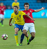 June 1th 2017, Ullevaal Stadion, Oslo, Norway; International Football Friendly 2018 football, Norway versus Sweden;  Marcus Rohden of Sweden battles with Anders Trondsen of Norway