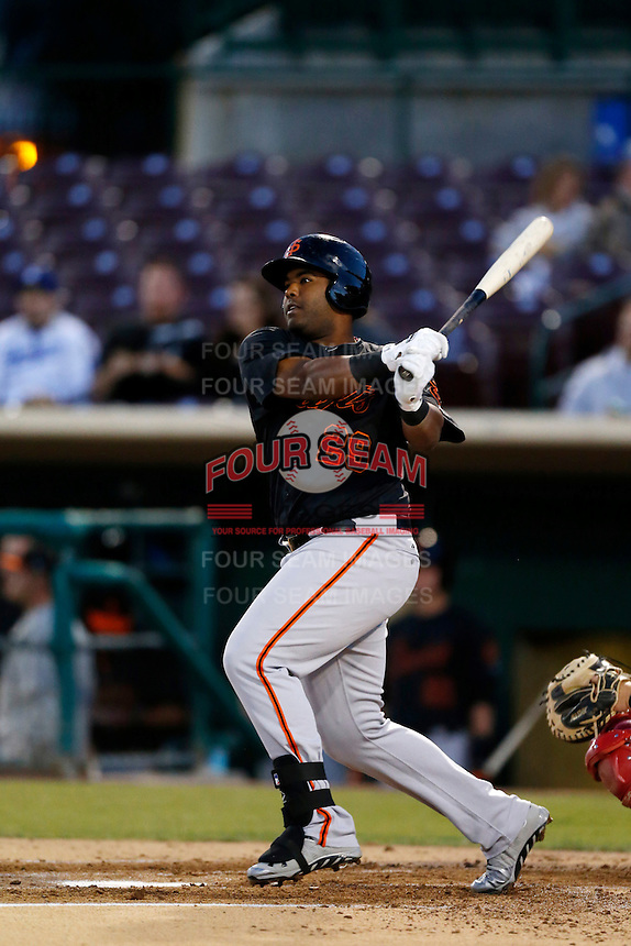 Angel Villalona #29 of the San Jose Giants bats against the Inland Empire 66'ers on April 18, 2013 at San Manuel Stadium in San Bernardino, California. (Larry Goren/Four Seam Images)