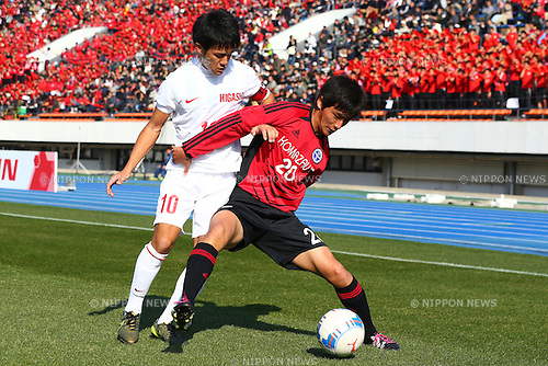 (L-R) Kento Nakamura , Seiya Hattori , JANUARY 5, 2016 - Football / Soccer : 94th All Japan High School Soccer Tournament quarterfinal match between Komazawa University high school 0-1 Higashi Fukuoka at Komazawa Olympic Park Stadium, Tokyo, Japan. (Photo by Shingo Ito/AFLO SPORT)