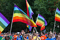 Parade marchers waving rainbow flags, Seattle PrideFest 2015, Washington State, WA, America, USA.