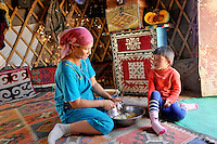 Kazaki nomads living in Jurta (Traditional Asian nomads House)