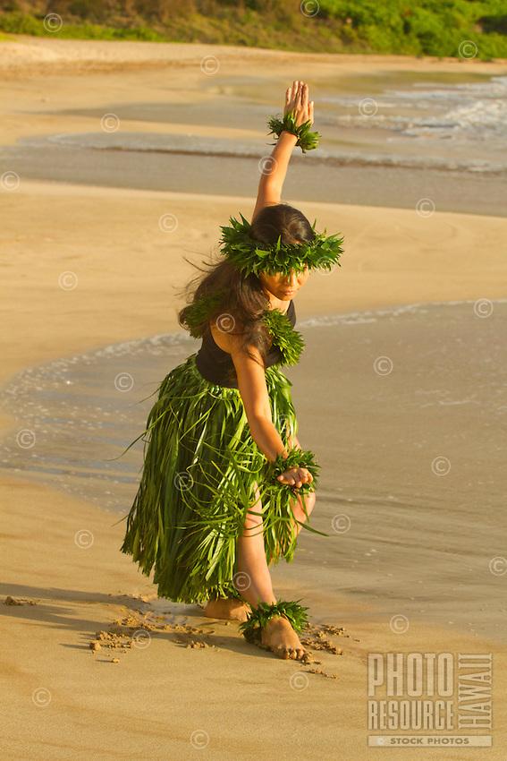 Hula on the beach at Palauea, Maui, Hawaii.