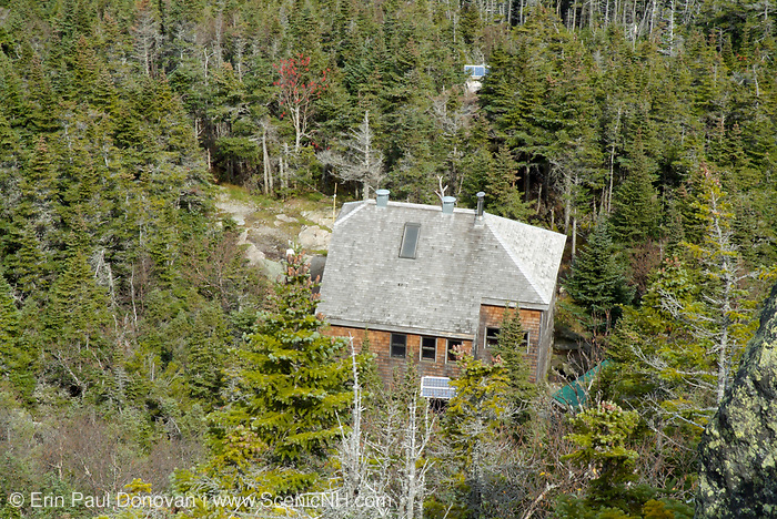 Looking down on Gray Knob Cabin from an overlook along Lowe's Path in the Northern Presidential Range in the White Mountain National Forest of New Hampshire.