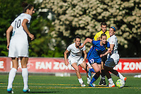 Seattle, WA - Sunday, May 1, 2016: Seattle Reign FC forward Beverly Yanez (17) pushes past the FC Kansas City defense during the second half of a National Women's Soccer League (NWSL) match at Memorial Stadium. Seattle won the match 1-0.