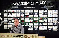 Head coach Francesco Guidolin during the Swansea City FC press conference, ahead of their Premier League game against Chelsea at the Liberty Stadium, Swansea, Wales, UK. Thursday 07 April 2016