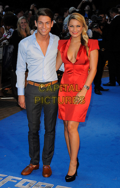 Joey Essex & Sam Faiers.'Transformers: Dark Of The Moon' Fan screening at BFI IMAX Cinema, London, England..June 26th 2011.full length blue shirt jeans denim brown shoes loafers red dress side couple black.CAP/CAN.©Can Nguyen/Capital Pictures.