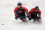 (L-R) Satoru Sudo, Satoru Sudo (JPN), <br /> MARCH 13, 2018 - Para Ice Hockey : <br /> Qualification round between Czech Republic 3-0 Japan <br /> at Gangneung Hockey Centre during the PyeongChang 2018 Paralympics Winter Games in Pyeongchang, South Korea. <br /> (Photo by Yusuke Nakanishi/AFLO)