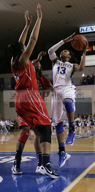 Freshman guard Bria Goss shoots the ball during the first half of UK Hoops vs. Ole Miss at Memorial Coliseum in Lexington, Ky., on Thursday, Feb. 2, 2012. Photo by Tessa Lighty | Staff