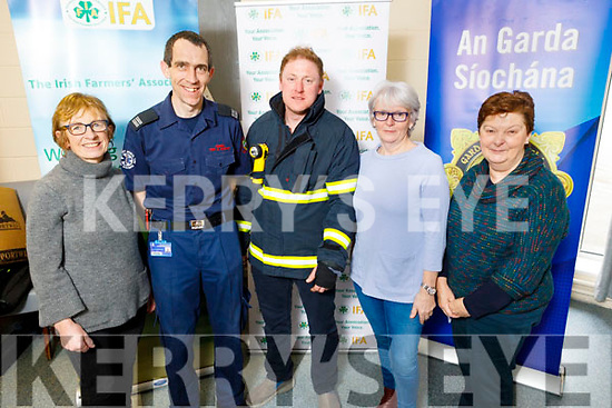 Fionnuala Fitzgerald (Castlegregory Community Council), John O'Donnell and PJ O'Dowd of the Kerry Fire and Rescue Service) with Debbie Quirke (Castlegregory Slainte Seniors Active Retire Group) and Ann Kearney (Ballyroe Spa/Fenit ICA) attending the Garda Meet and Greet National Rural Safety Forum in Cumann Iosaef in Tralee on Friday.