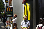 "April 29, 2012, Tokyo, Japan - .McDonald's Japan opens its largest store Harajuku Omotesando shop on Sunday, April 29, 2012. Eiko Harada President of McDonald's Japan delivered business strategy, McDonald's Japan will improve its cafe brand ""McCafe"". .(Photo by YUTAKA/AFLO) [1040] -ty-"