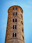 Tower, Basilica di Sant'Apollinare Nuevo, 6th century Byzantine mosaics, Ravenna, Italy