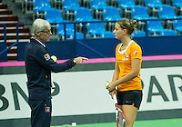 Moskou, Russia, Februari 4, 2016,  Fed Cup Russia-Netherlands,  Dutch team practise doubles  Cindy Burger with coach Martin Bohm<br /> Photo: Tennisimages/Henk Koster