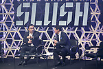 Carlos Ghosn, Chairman and CEO of Renault-Nissan Alliance (L) speaks during the Slush Tokyo 2017 event on March 30, 2017, Tokyo, Japan. The 2 day event features outstanding entrepreneurs sharing their stories and showcasing their products and services in Tokyo Big Sight. (Photo by Rodrigo Reyes Marin/AFLO)