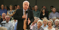 Gary Wilcox/staff... 03/28/07... Sen. John McCain talks to a  crowd of 400 people at Fleet Landing last Wednesday. (03/28/07),..